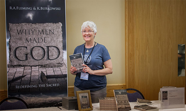 Why Men Made God table at NonCon2015 with Karis Burkowski